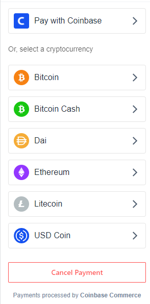 Pay with coinbase